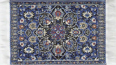 Small Turkish Carpet Rug Blue Patterned, Doll House Miniature, Mat Floor