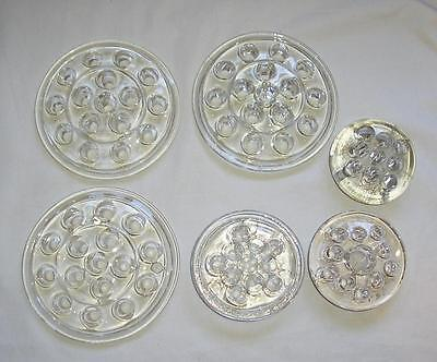 Lot 6 Vintage Clear Glass Flower Frogs