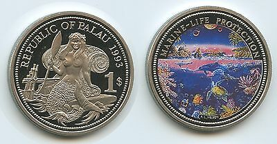 PA14 - Palau 1 Dollar 1993 KM#3 Marine Life Protection Multicolor Farbmünze