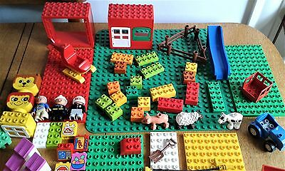 Lego Duplo Huge 200+ Pieces Bundle Base Plates Vehicles Animals Figs See Images