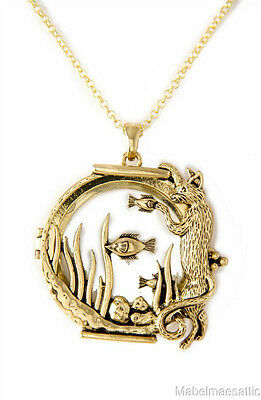 New Gold Finish Kitten Cat & Fish in Fishbowl Magnifying Glass Pendant Necklace