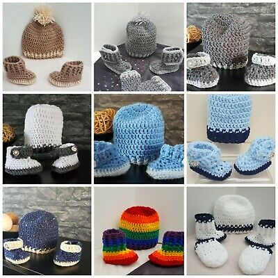 Handmade crochet baby boys hat and booties 0-9 m 9 colours