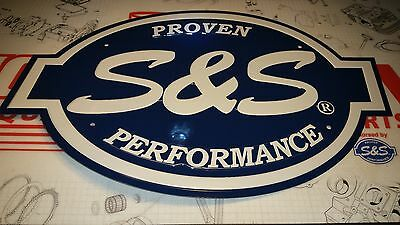 """510-0192 S&S Cycle Logo Sign 16.5""""x11"""" Embossed Aluminum DieCut Harley BlueWhite"""