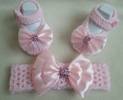 Hand knitted Romany Bling baby girls shoes/ booties + Crochet headband.0-3months