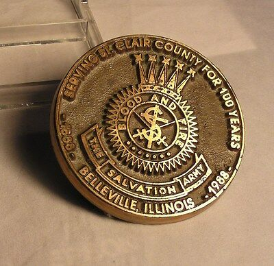 Salvation Army - BRASS PAPERWEIGHT  100 YEARS ST. CLAIR COUNTY - BELLEVILLE, ILL