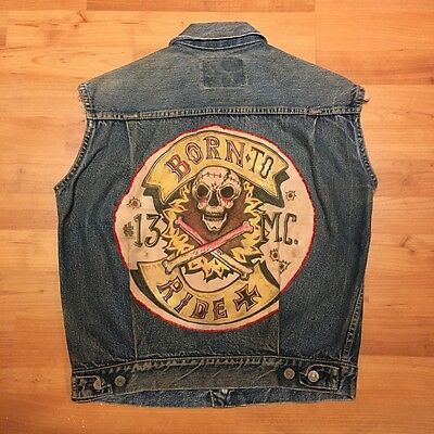 Levi's 50's vintage 507XX #13 MC motorcycle club denim jacket cut-off vest S/M