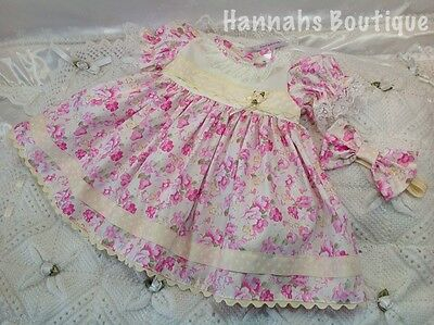 Hannahs Boutique 0-3 Mth Spanish Pink Floral Dress & Hband Or Reborn 20-24""
