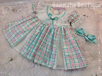 Hannahs Boutique 0-3 Mth Spanish Pink And Aqua Dress & Hband Or Reborn 20-24""