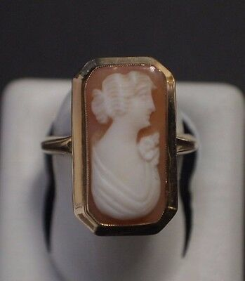 10 K Yellow Gold Cameo Ring Size 6