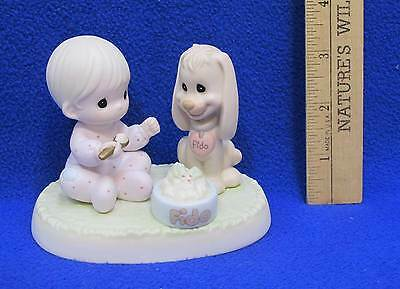 Precious Moments Figurine Sharing Our Christmas Together Boy & Puppy Porcelain
