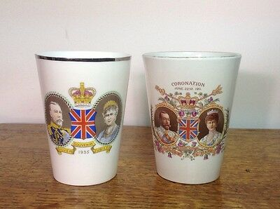 2 Shelley Coronation Commemorative ware beakers