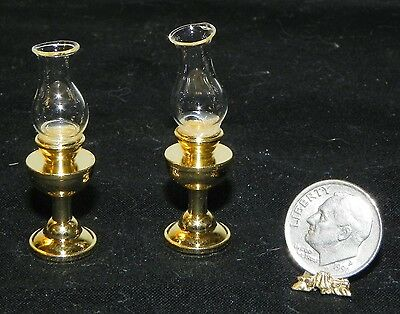 Dollhouse Miniature Lamp Oil Gold Base Vintage Style Set 2 Non Electric 1:12