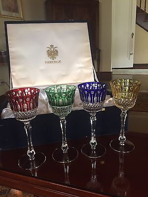 Faberge XENIA Set Of 4! Cut to Clear Crystal Wine Goblets Signed In Velvet Box!