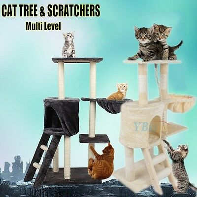 Double Scratching Tree Activity Toy Tower for Pet Cat Condo Scratcher Bed Indoor