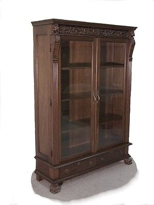 "Tall Mahogany Bookcase / Display Glass Doors ..""wow"""
