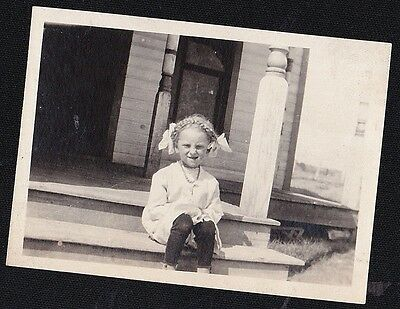 Old Vintage Antique Photograph Adorable Little Girl With Braids & Bows in Hair