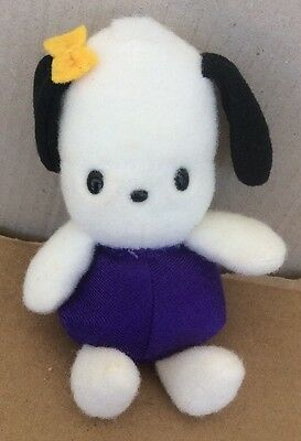 "vintage 1997 sanrio 6"" pochacco w/yellow ribbon bean bag beanie plush *READ*"