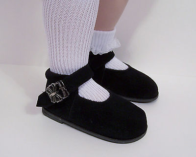 "Debs BLACK Heart Cut-Out w//Buckle LL Doll Shoes For 23/"" My Twinn Poseable"