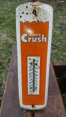Rare Orange Crush Advertising Thermometer made by Barker Sign Company Canada