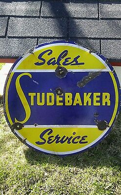 1940 Authentic Studebaker Sales and Service Double Sided Porcelain sign GSW Sign