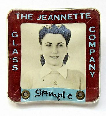 WWII 1940's THE JEANNETTE GLASS CO. employee badge pinback Home Front +