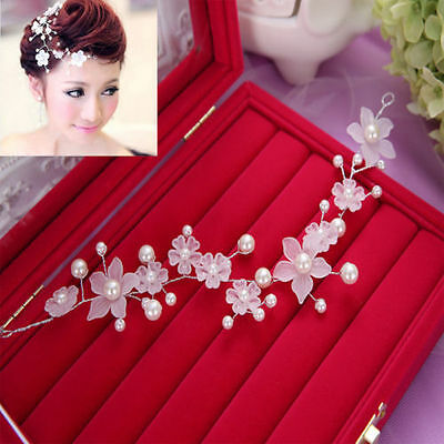 Bridal wedding Head Piece Hair Accessories Flowers Pearl White Womens Bride