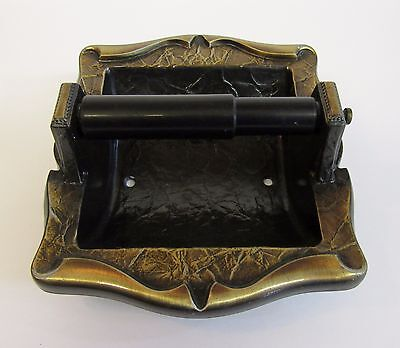 * Vintage Amerock Carriage House Antique Brass Finish Inset Toilet Roll Holder *