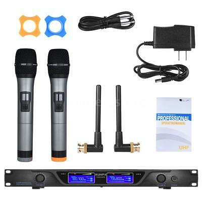 Professional 2 Channels UHF Wireless Microphone Mic System for Karaoke KTV
