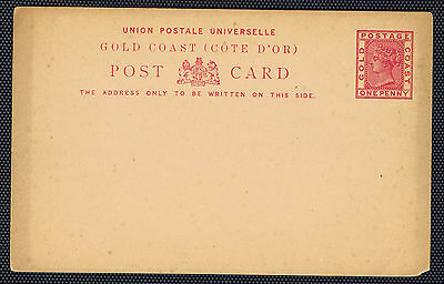 Gold Coast #CP3(5) 1883-1891 1 pence rose Queen Victoria POSTCARD Unused
