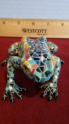 Multi Colored Tile Ceramic Mosaic Frog Figurine Statue Paperweight Pre-Owned