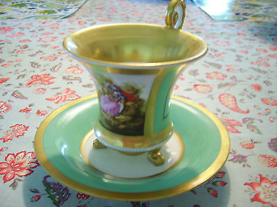 Vintage Berlin Porcelain Footed Tea Cup and Saucer Courting Couple Fragonard EXC