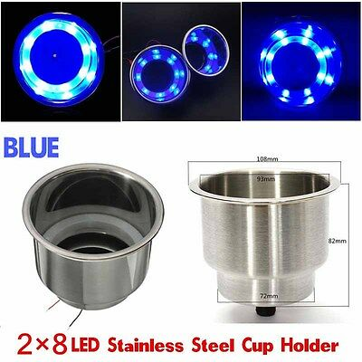 2x Blue 8LED Recessed Stainless Steel Cup Drink Holder for Car Auto Marine New