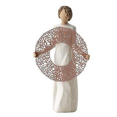 Willow Tree by Demdaco - Welcome Here - Woman holding metal wreath - MIB #26251