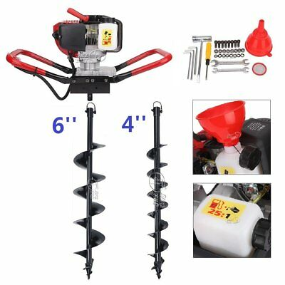 52CC Gas Powered Post Hole Digger w/ 4'' 6'' Auger Bits Fence Ground Drill Plant