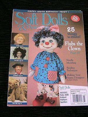SOFT DOLLS & ANIMALS March 2002 cloth doll patterns~technique~how-to magazine