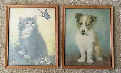 Florence Kroger Pair Of Framed  Kitten Puppy Dog Cat  Pictures