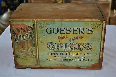 Goeser's Spices Danville PA 1800's Wood spice box original label