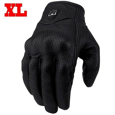 1 Pair Universal Motorcycle Riding Mesh Leather Protective Armor Gloves XL Black