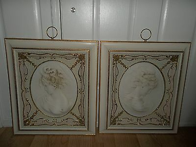 Vintage Turner 3D Shabby Cameos Chic East Wind & West Wind Framed Art ~ Awesome!