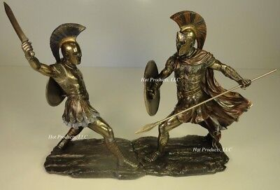ACHILLES vs HECTOR Battle of Troy GREEK MYTHOLOGY Sculpture Statue Bronze Finish