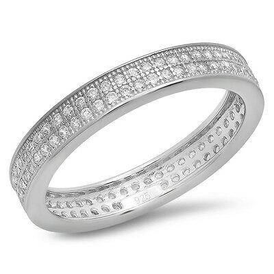 925 Sterling Silver Eternity Wedding ring Anniversary Band sizes 6, 7, 8  CZ