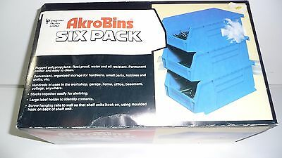 6 ACROBINS Stackable or Hanging Blue Plastic Storage Bins Containers Garage Shop