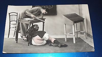 Erotic Postcard 1910-20? Young Girl Being Spanked By Teacher