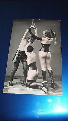 Erotic Postcard 1910-20? Young Girl Chained and Whipped by Others