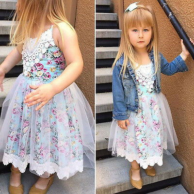 Kids Baby Girl Flower Dress Princess Lace Tulle Tutu Formal Party Wedding Gown