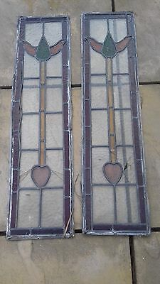 2 Matching Antique Art Deco Type Leaded Light Stained Glass Windows- some damage