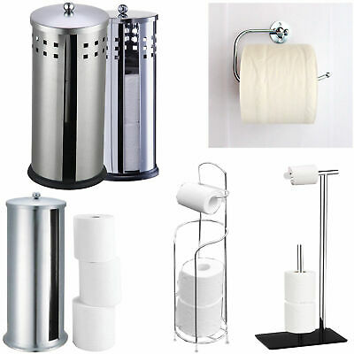 Chrome Toilet Paper Holder Bathroom Tissue Roll Storage Containr Stand Organizer