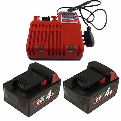 2X18V 4.0Ah Battery M18B4 M1840 48-11-1828 Li-ion  - LG & Milwaukee M18 Charger