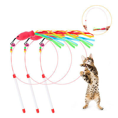 Funny Cat / Kitten Pet Teaser Fish Ribbon Wire Chaser Pet Toy Wand Beads Play