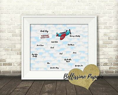 """Airplane Themed 10""""x8"""" Guest Book Alternative Poster Baby Shower First Birthday"""